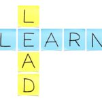 Learn-Lead crossword made with sticky notes on white background